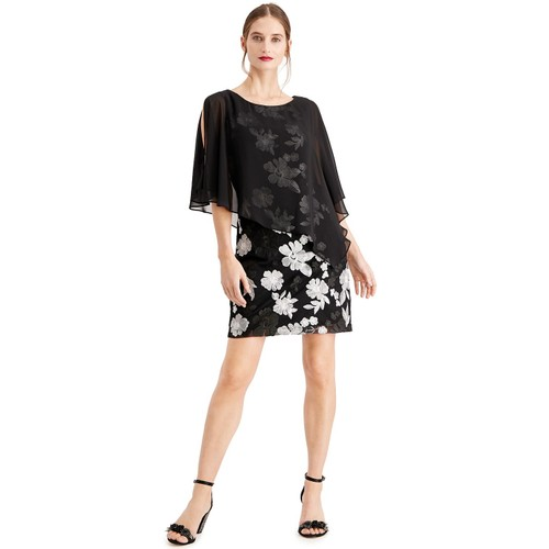 Connected Women's Embroidered Chiffon-Capelet Dress Black Size 16