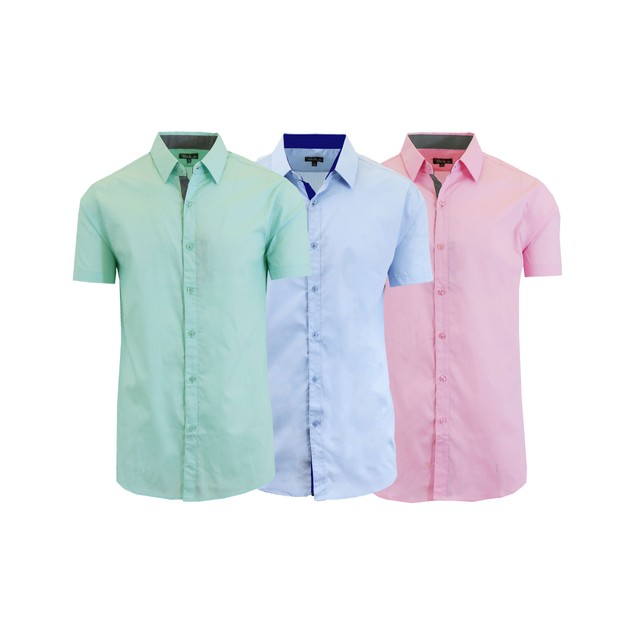 Men's 3-Pack Slim Fit Short Sleeve Dress Shirts (S-5XL)
