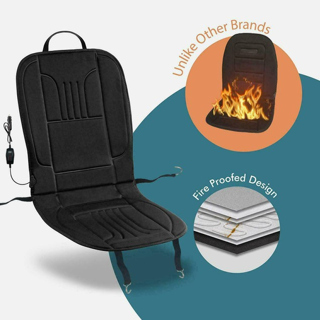 Zone Tech Heated Car Seat Heater Cushion Warmer 45 Minute Timer