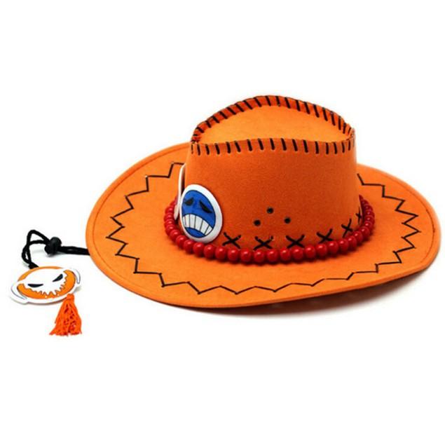 Portgas D Ace Orange Hat And Necklace