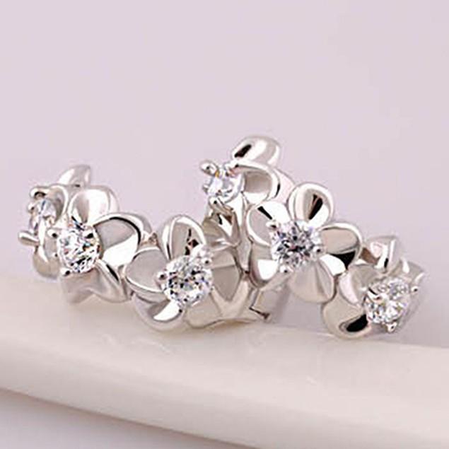 Women's Sweet Camellia Flower Inlaid Zircon Huggie Earrings