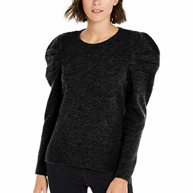 INC International Concepts Women's Puff-Sleeve Sweater Black Size Small