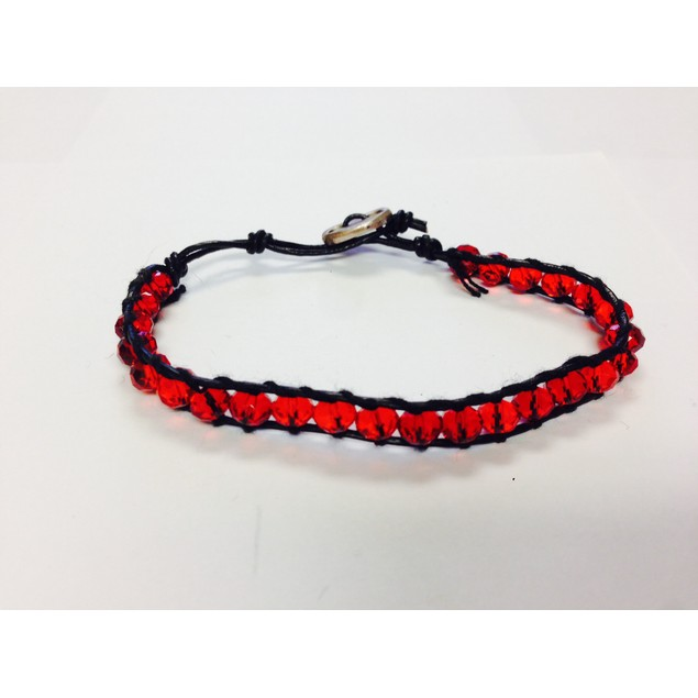 Red Single Wrap Bracelet Stackable Wrapping