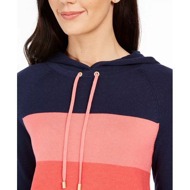 Charter Club Women's Striped Hooded Sweater Blue Size Extra Large