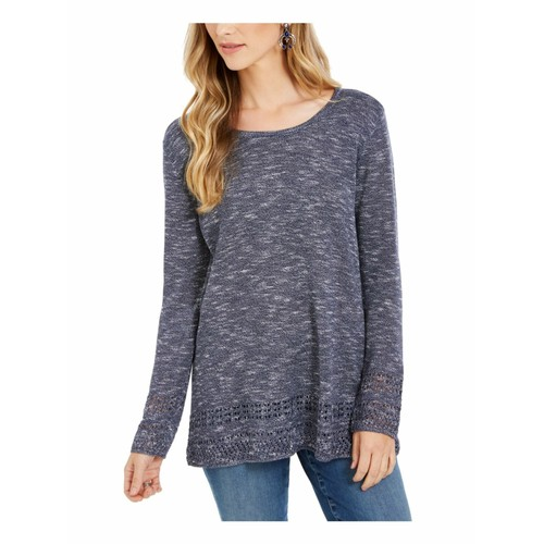 Style & Co Women's Petite Pointelle-Trim Sweater  Blue Size Small