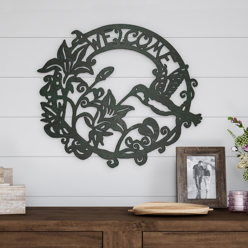"""WELCOME"" Wreath Rustic Metal Cutout Wall Art"