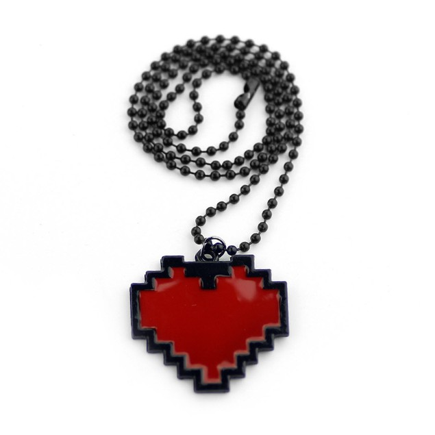 Red Heart Pixel Necklace