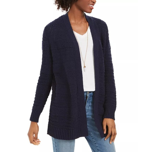 Style & Co Women's Boucle Cardigan Navy Size Small