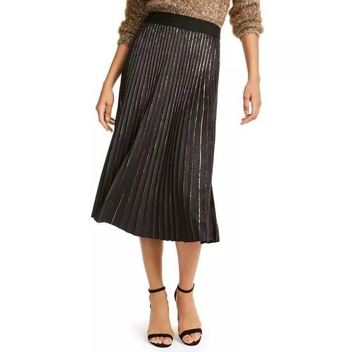 Lucy Paris Women's Pleated Velvet Skirt Gold Size Small