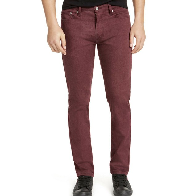 Levis Men's 511 Slim-Fit Stretch Flannel Jeans Burgundy Size 32X32