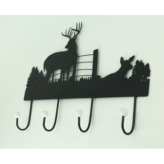 Black Rustic Metal Deer Silhouette Wall Hook Decorative Wall Hooks