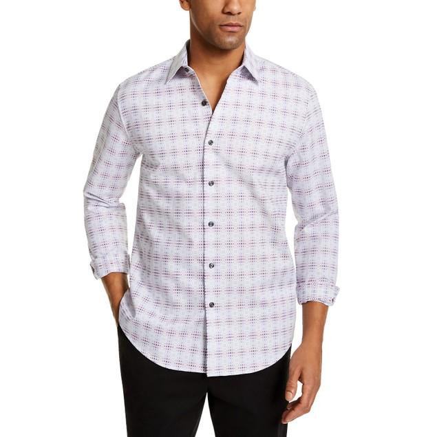 Tasso Elba Men's Stretch Plaid Shirt Gray Size Large