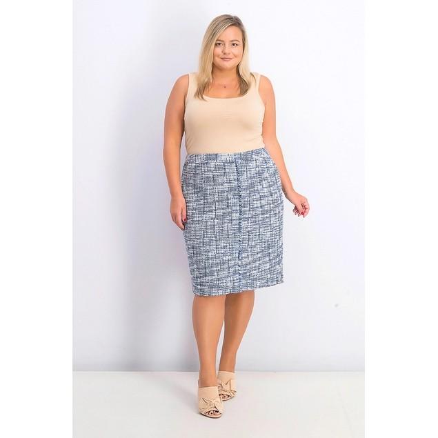 Calvin Klein Women's Plus Size Tweed Fringe-Trim Pencil Skirt Blue Size 14