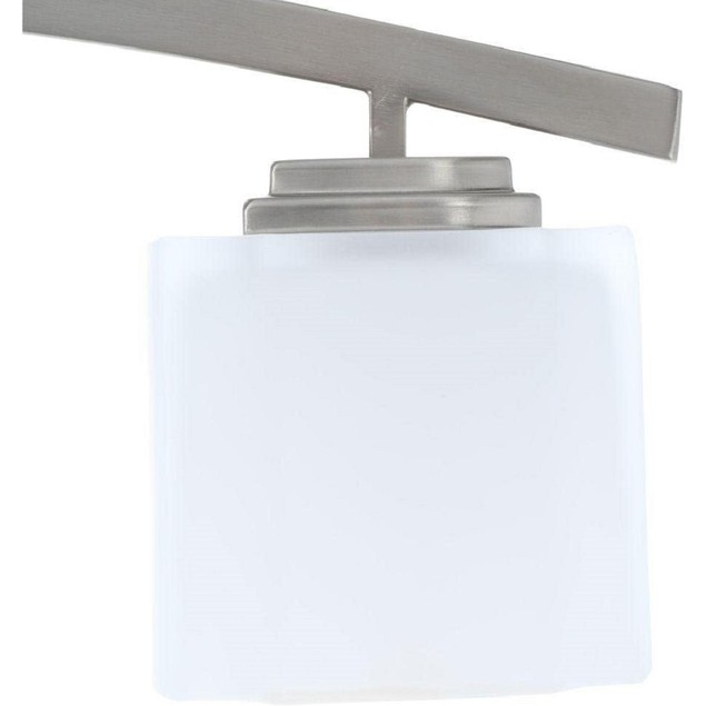 Hampton Bay Architecture 4 Light Brushed Nickel Vanity with White Glass