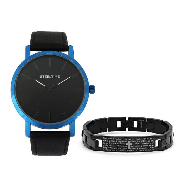 Bracelet & Blue Trim Watch Set W/Prayer Bracelet