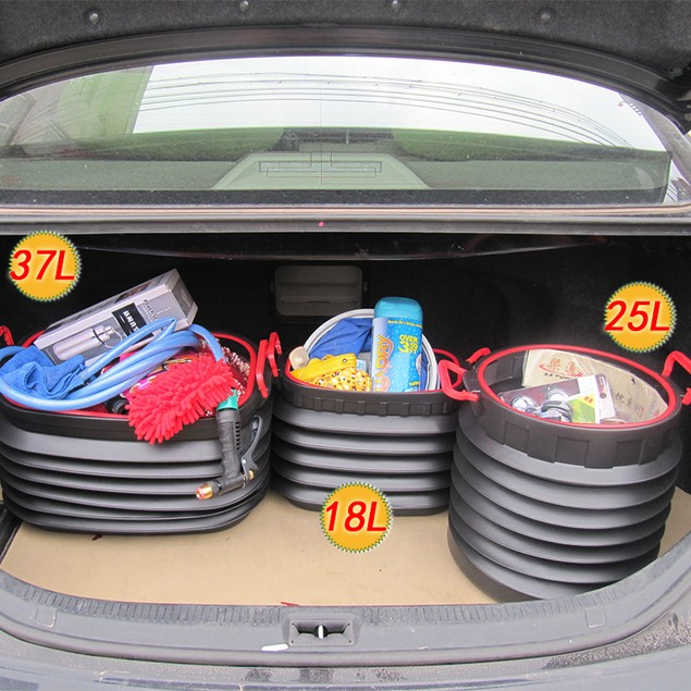 18l Multi-purpose Vehicle Outdoor Folding Trash Can Telescopic Storage Box