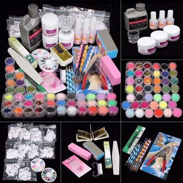21 in 1 Acrylic Glitter Color Powder French Nail Art Deco