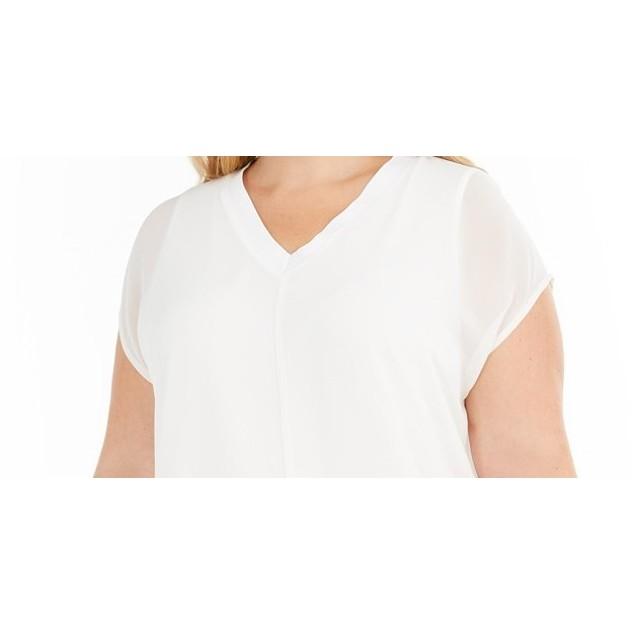 Alfani Women's Plus Split-Front Tunic TopWhite Size OX