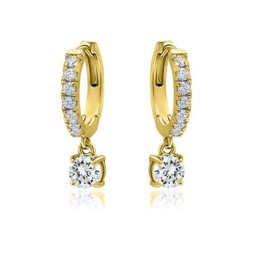 18k Gold Plated Crystal Drop Huggie Earrings- 3 Colors