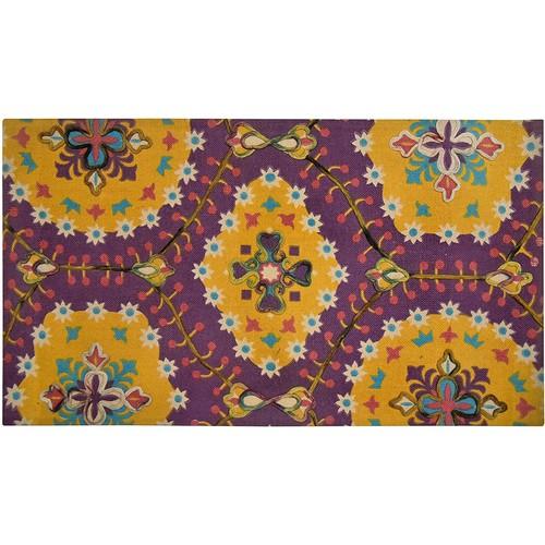 Spura Home 45X27 Handmade Purple Matrix Design Printed Embroidered Area Rug