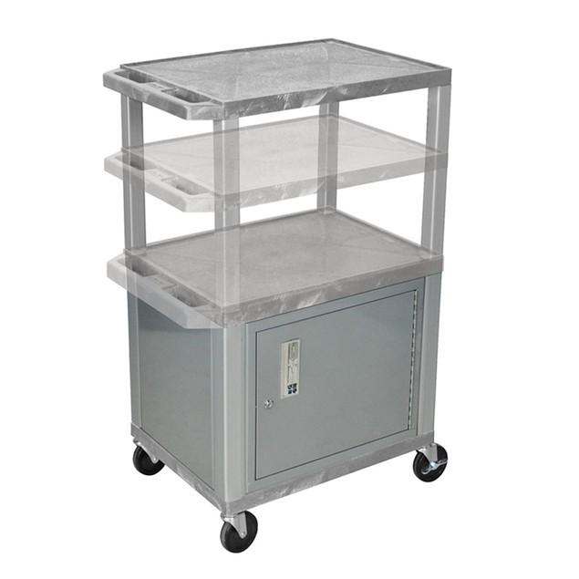 "Luxor 26"" Multi - Height AV Electric Cart with Cabinet - Nickel Legs, Gray"