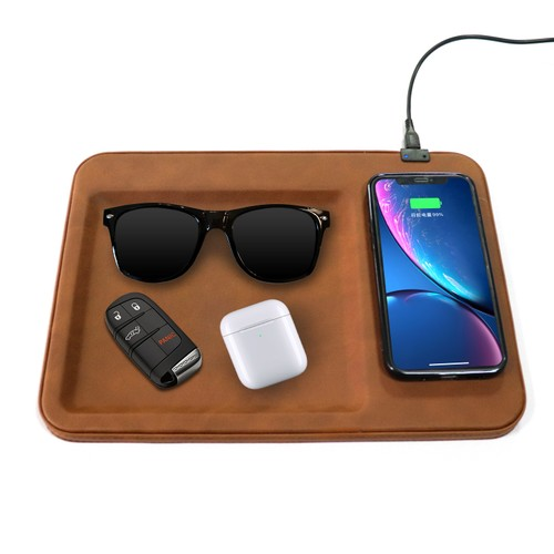 Table Top Organizer Tray with Wireless Charging Pad
