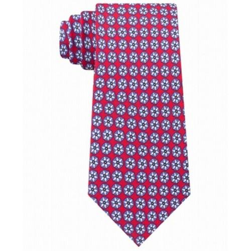 Tommy Hilfiger Men's Classic Snowflake Neat Silk Twill Tie Red Size Regular