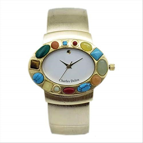 Charles Delon Women Watches 4108 LASD Gold with Colors Stones Stainless Steel