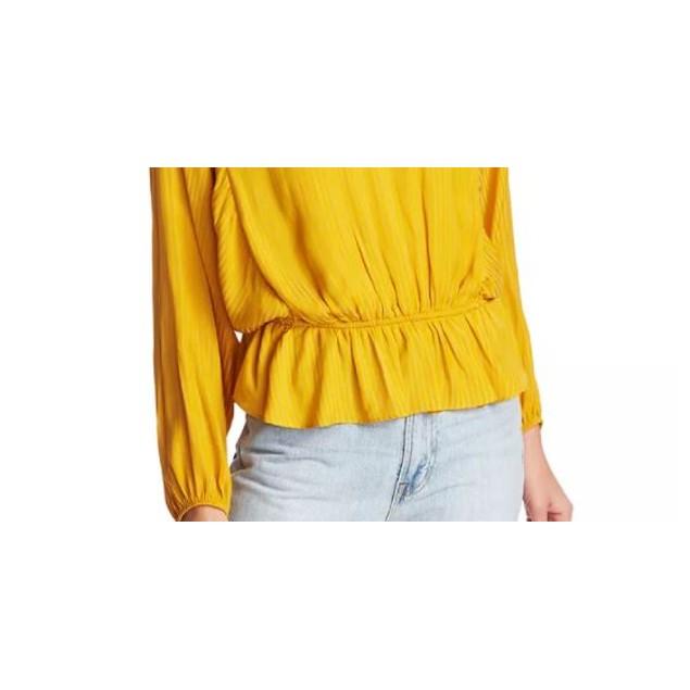 1.State Women's Shadow Stripe Peplum Top Yellow Size X-Large