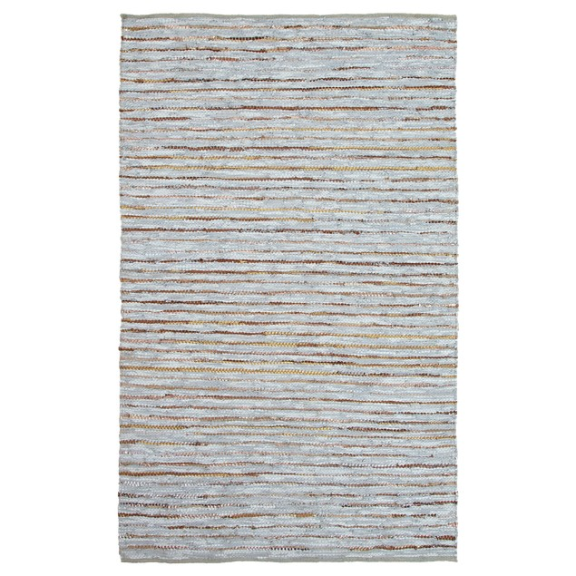 Hand-Woven Amara Leather and Cotton Area Rug