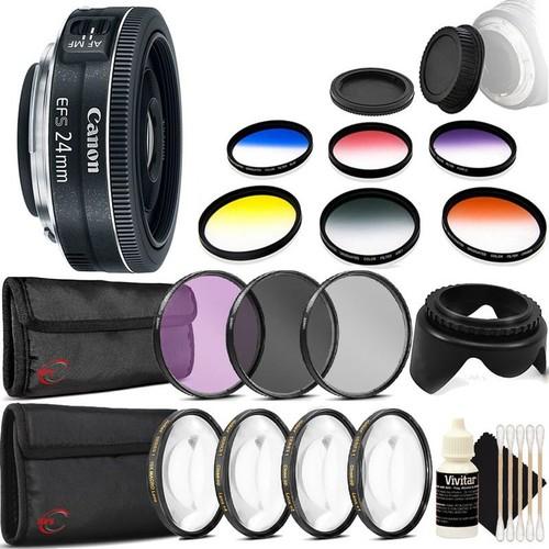 Canon EF-S 24mm f/2.8 STM Lens  + 52mm Filter Kit + Macro Kit + Color Filter Kit + Tulip Lens Hood + Rear & Front Cap + 3pc Cleaning Kit