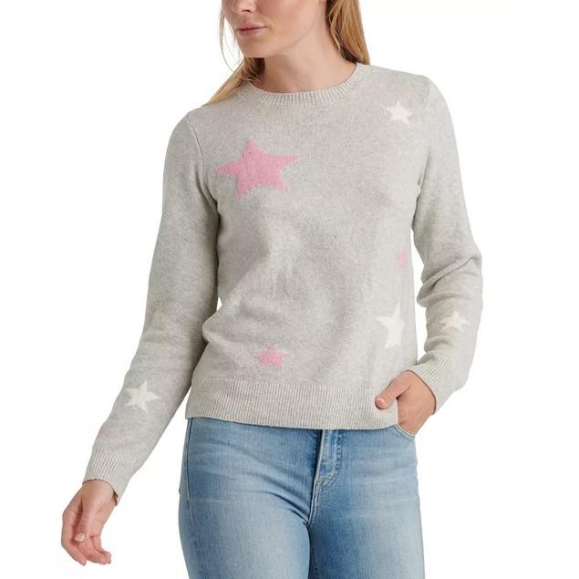 Lucky Brand Women's Star Intarsia Sweater Gray Size Medium