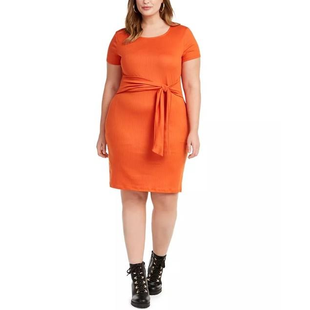 Planet Gold Junior's Trendy Plus Tie Waist Dress Orange Size 1X