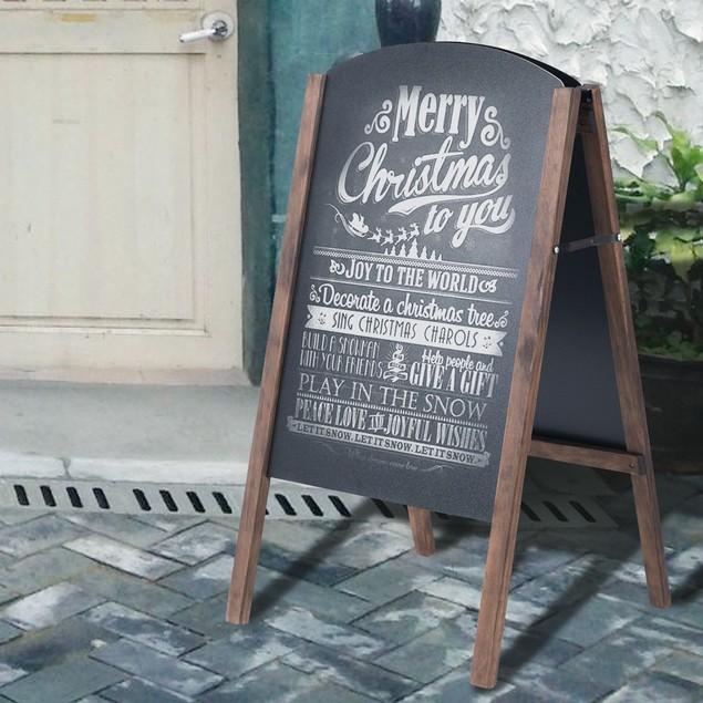 Costway 40'' Wood A-Frame Chalkboard Sign Menu Board Sidewalk Wedding Signa