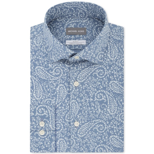 Michael Kors Men's Blue Print Dress Shirt Navy Size 15-34-35