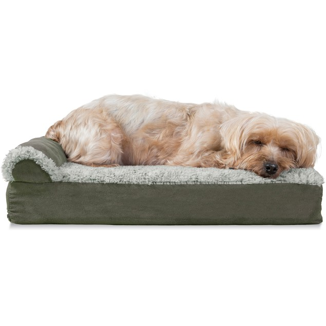 FurHaven Faux Fur & Suede Deluxe Chaise Lounge Orthopedic Pet Bed