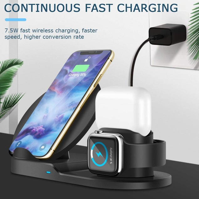 3-in-1 Wireless Charging Station Compatible with Qi Devices