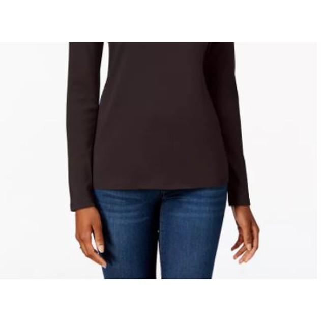 Charter Club Women's Pima Cotton Long Sleeve Top Dark Grey Size Large