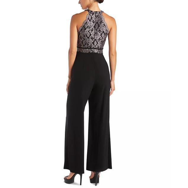 Nightway Women's Glitter-Lace Jumpsuit Black Size 8