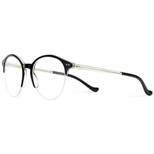 Eyeglasses Frames for Men or Women  2.0 Tratto 06 07C5 Black Crystal Round Made in Italy by Safilo with Demo Lens