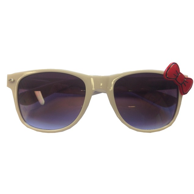 White Wayfarer Sunglasses With Red Bow Hello Kitty Nerd Accessory Adult