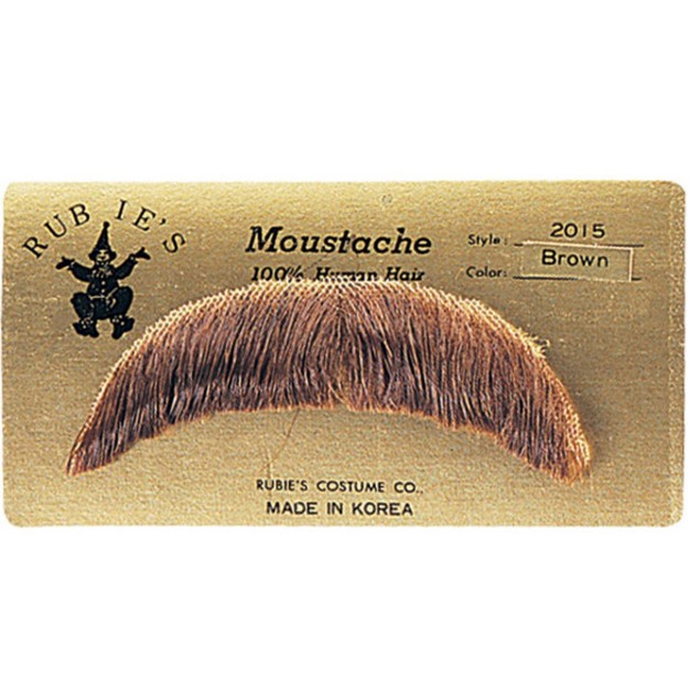 Brown Basic Character Moustache 100% Human Hair Costume Accessory Adult