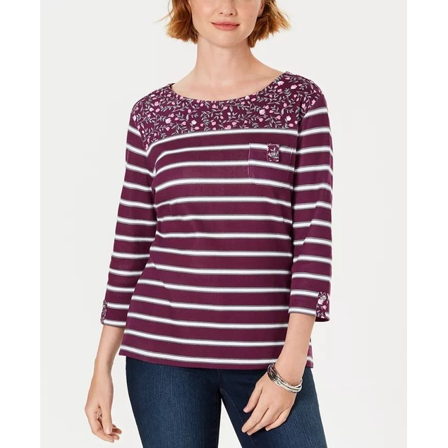 Karen Scott Women's Petite Ditsy Floral & Striped Pocket Top Red Size 44