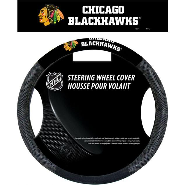 Chicago Blackhawks Steering Wheel Cover NHL Hockey Team Logo Poly Mesh