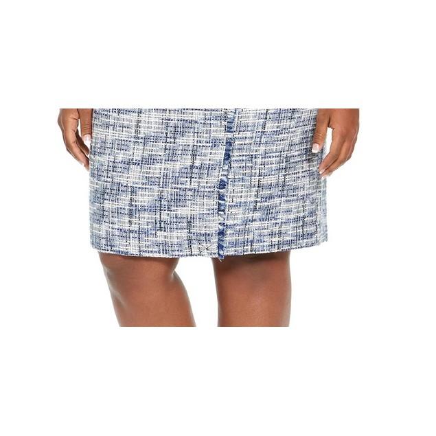 Calvin Klein Women's Tweed Fringe Trim Pencil Skirt Blue Size 18W