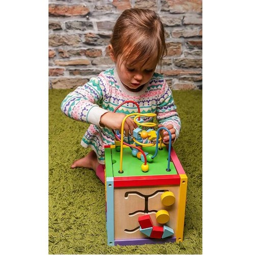 Wooden Learning Bead Maze Cube 5 in 1 Educational Toy Multicolor