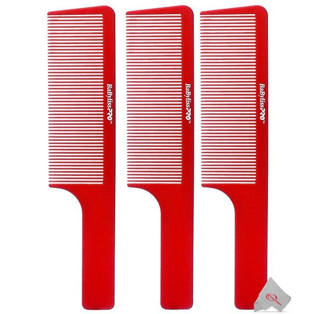 Three BaBylissPRO Barberology 9 Inch Clipper Comb - Red