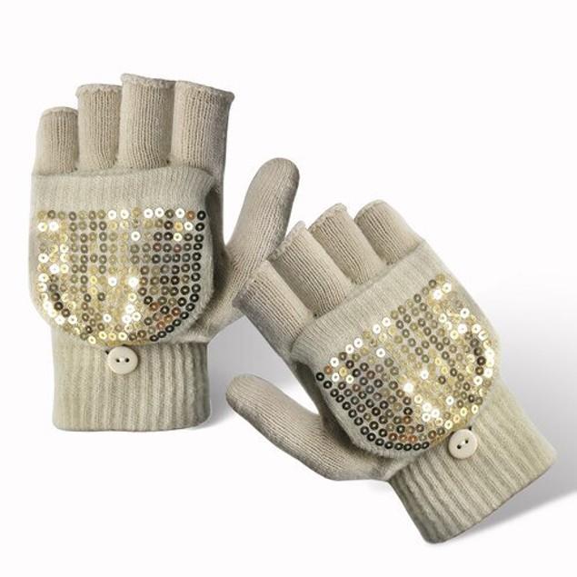 3-Pairs Fingerless Thermal Knitted Magic Gloves with Rhinestone Diamond