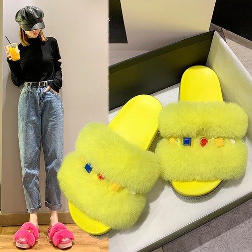 Women's Candy Color Light Mid-Heeled Furry Slippers