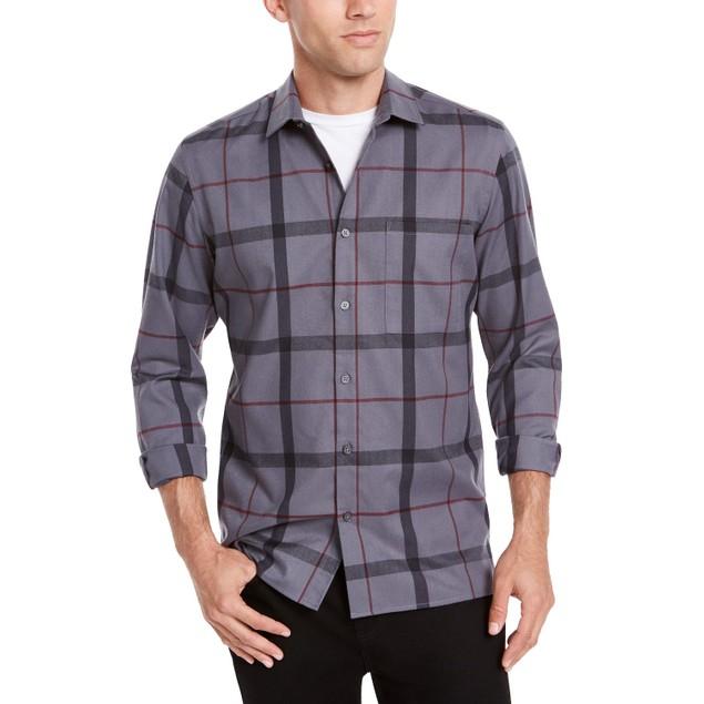 Alfani Men's Classic-Fit Brushed Plaid Shirt Blue Size Small
